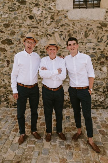 Groomsmen in Relaxed White Shirt & Chino's | Barcelona Destination Wedding Weekend | Marcos Sanchez Photography