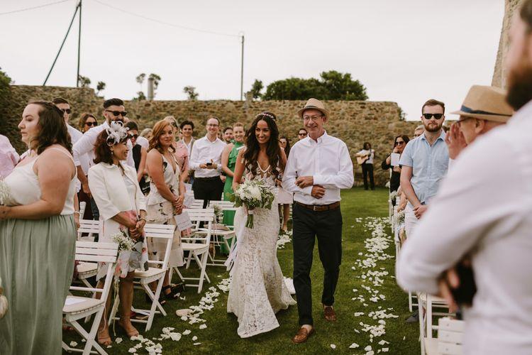 Outdoor Wedding Ceremony | Bridal Entrance in Lace Inbal Dror Wedding Dress | Barcelona Destination Wedding Weekend | Marcos Sanchez Photography