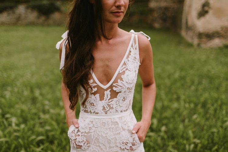 Bride in Lace Inbal Dror Wedding Dress | Barcelona Destination Wedding Weekend | Marcos Sanchez Photography