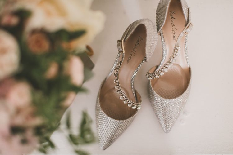 Silver embellished wedding shoes