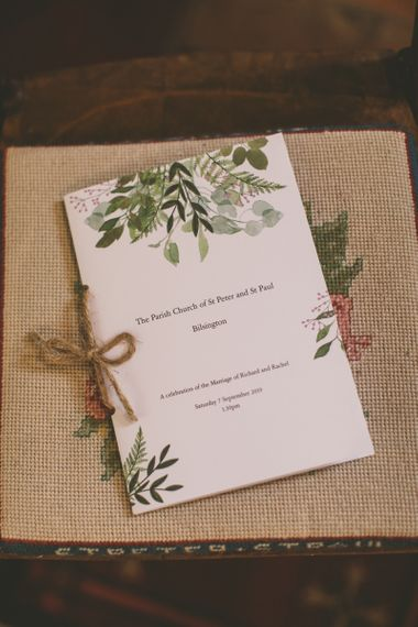 Order of service for church wedding ceremony
