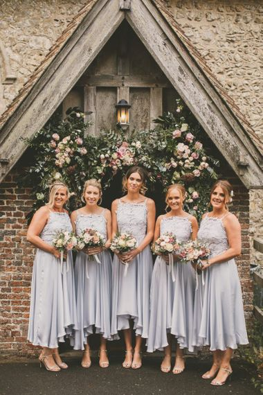 Pale blue bridesmaid dresses for rustic wedding