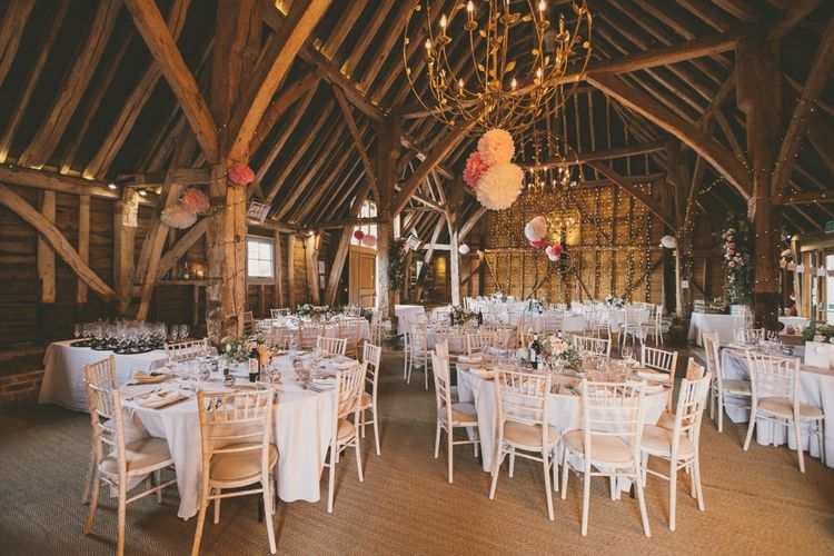 Odo's Barn wedding venue in Kent with pale blue bridesmaid dresses