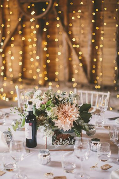 Wedding table decor with fairy light background