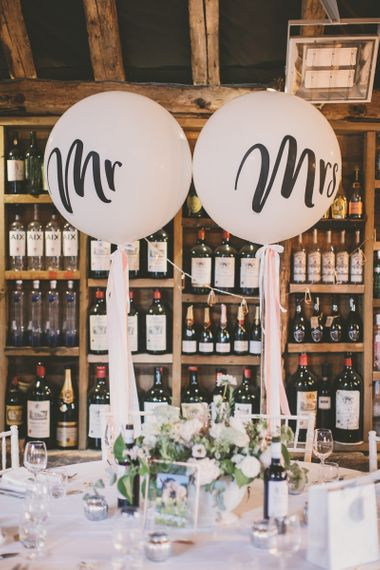 Mr & Mrs wedding balloons and pale blue bridesmaid dresses