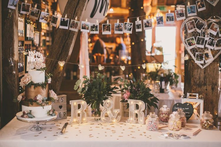 Beautiful wedding cake table and sweet table