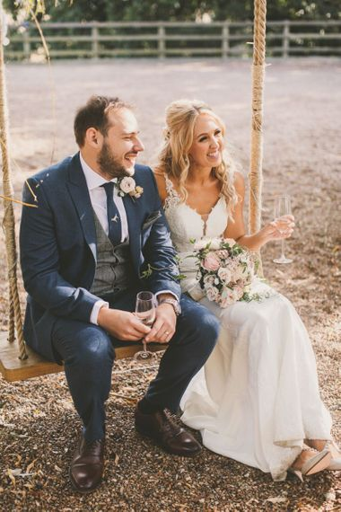 Rustic wedding venue with swing