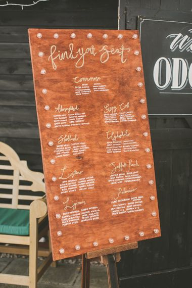 Homemade wooden seating plan for rustic wedding