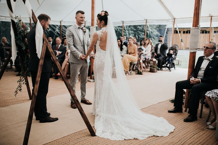 Home Outdoor Wedding in a Marquee with Tipi Structure