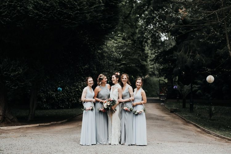 Grey Bridesmaid Dress with Hoop Bouquets