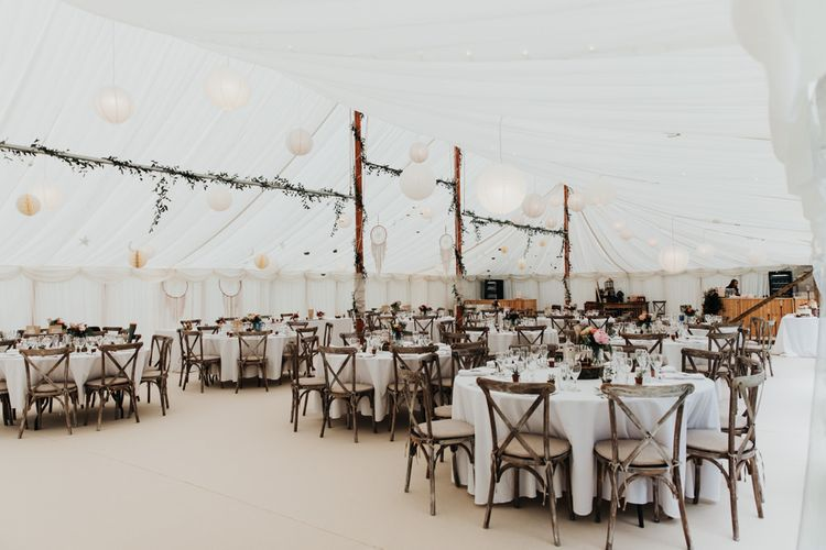 Marquee Wedding with Tipi Structure and DIY Decor