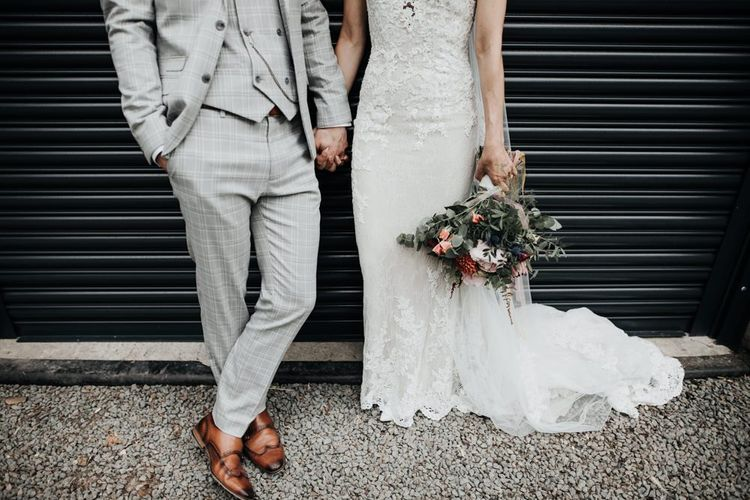 Grey Check Grooms Suit with Brown Shoes