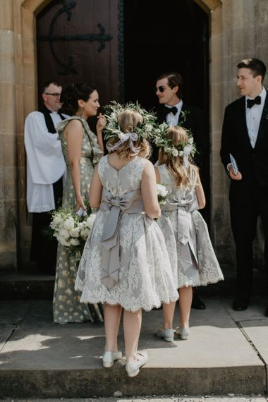 Flower Girls In Grey Dresses With Tie Bow Back and Lace Detail with Flower Crowns