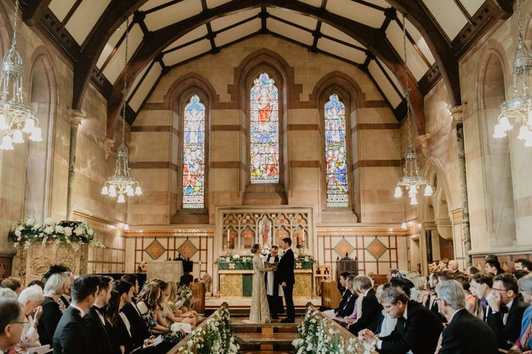 Beautiful Church Ceremony With Stain Glass Windows