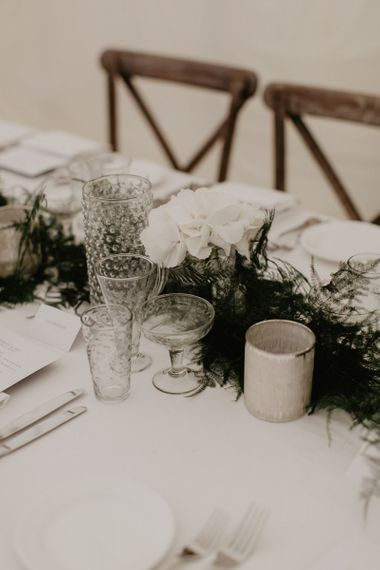 White Flower Table Place Setting