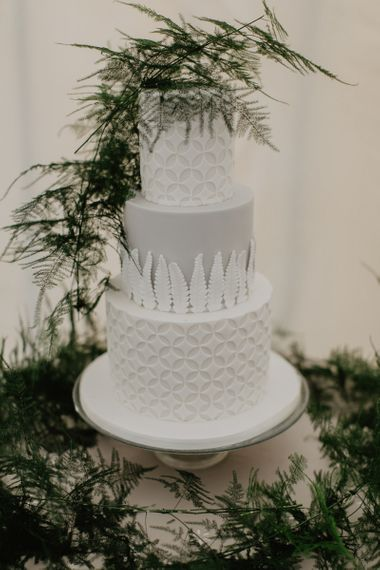 Grey and White Indian Inspired Wedding Cake