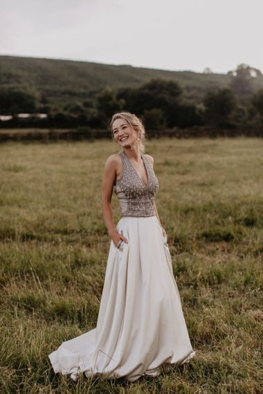 Bride in Beaded Top and Satin Skirt