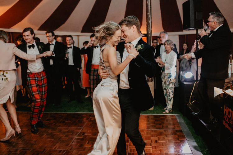 Bride and Groom First Dance with Bride In Satin Trousers