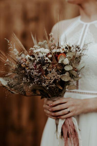 Dried flower bridal bouquet for socially distanced Eden Barn wedding