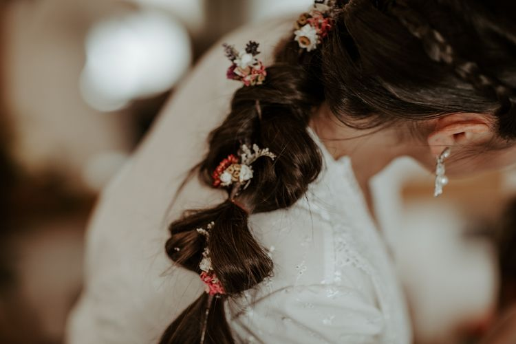 Bridal hair with dried flowers in