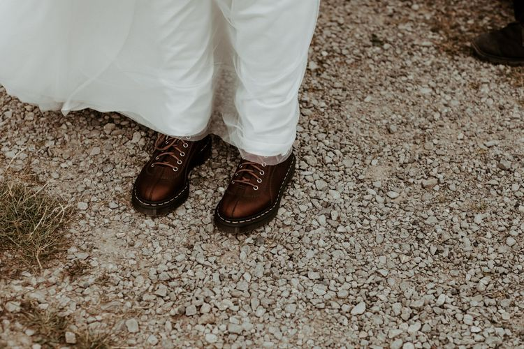 Bride in Dr Marten boots for Lake District wedding