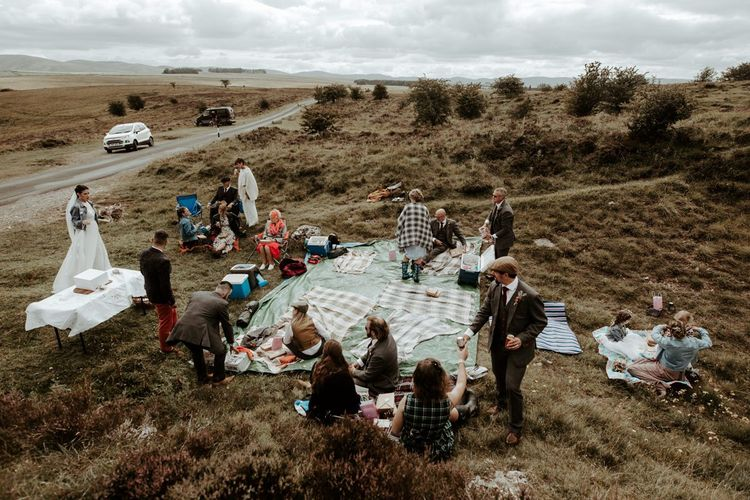 Socially distance wedding picnic in the Lake District for Eden Barn wedding