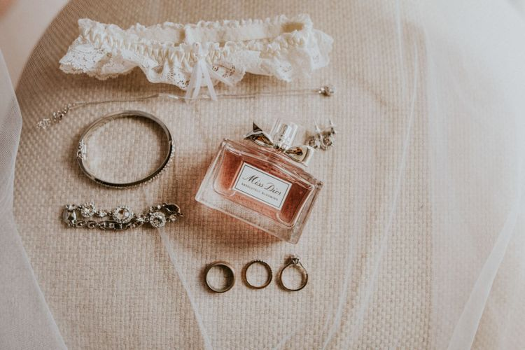 Bridal accessories with bridal garter and perfume