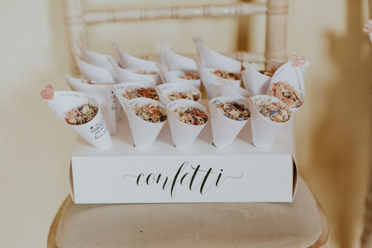 Confetti box and wooden wedding signs