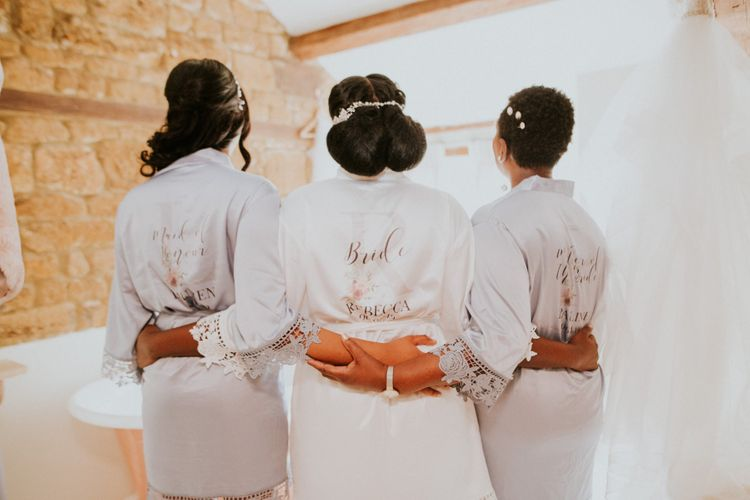 Wedding hair updo's with getting ready robes