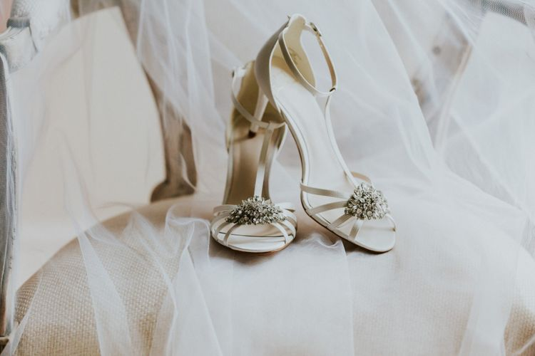 Bridal shoes with beaded detail
