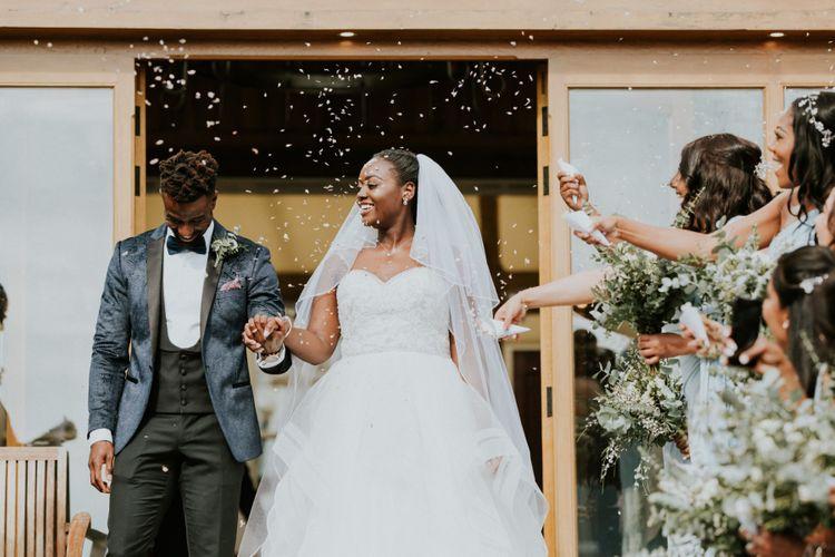 Strapless Donna Salado wedding dress with full skirt