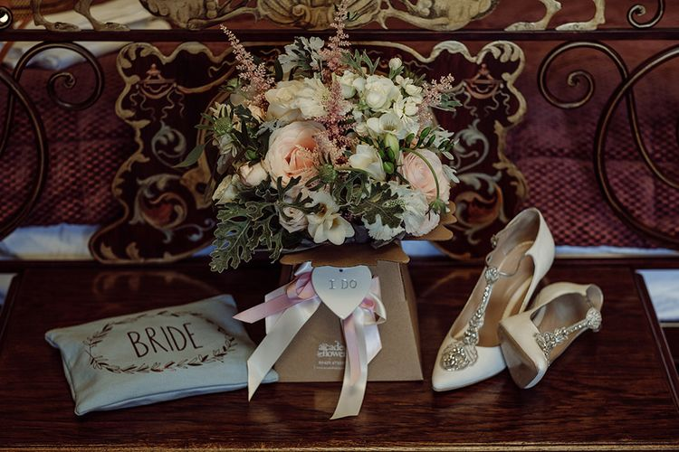 Brides Details | Blush Pink and White Flowers by Arcade Flowers | Traditional Wedding at Lainston House Hotel, Hampshire | RMW The List Supplier Jason Mark Harris Photography
