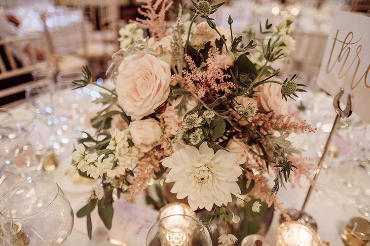 Blush Pink and White Flowers by Arcade Flowers | Traditional Wedding at Lainston House Hotel, Hampshire | RMW The List Supplier Jason Mark Harris Photography