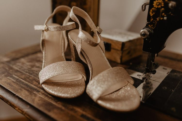 Gold sparkly wedding shoes for bride