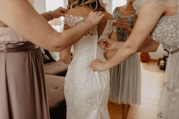 Bridal preparation at boho wedding