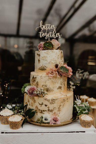 Gold leaf detail wedding cake