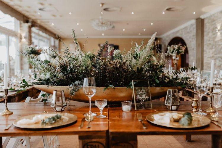 Table decor at boho inspired wedding