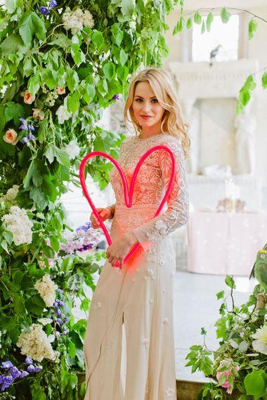Bride with neon heart