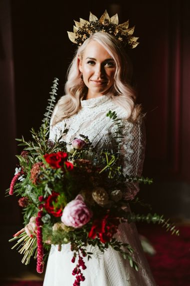 Bride with opulent flowers