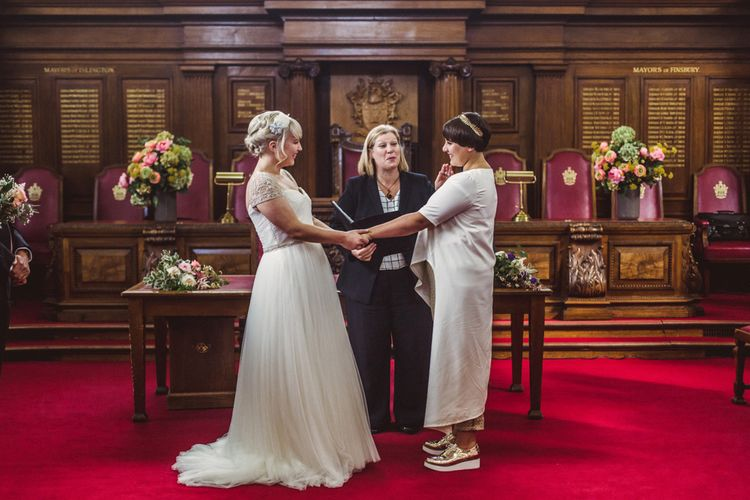 Lesbian civil wedding at registry office
