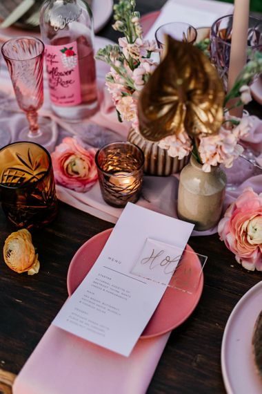 Pink Side Plate With Menu Card and Acrylic Name Place Card