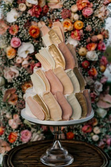 Modern Buttercream and White Chocolate Brushstroke Wedding Cake