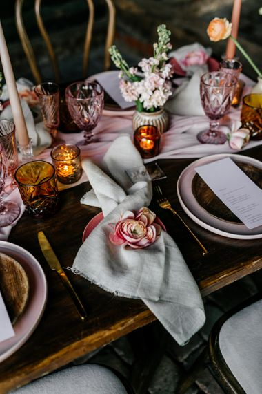 Napkin Decorated with a Flower Head