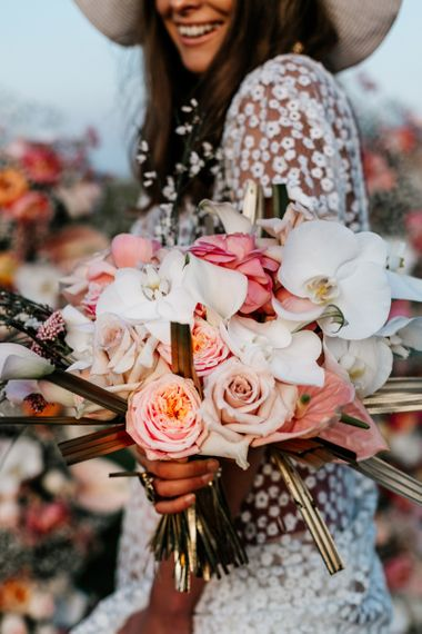 Blush Pink and White Bouquet with orchis, Roses and Ranunculus.