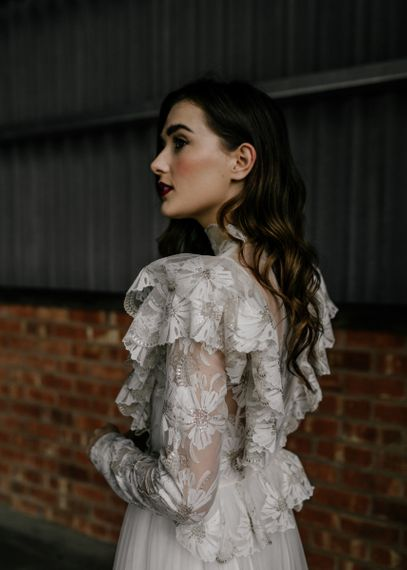 Bride in Lace KATYA KATYA Wedding Dress with Long Wavy Hair