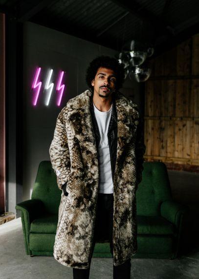 Stylish Groom in Faux Fur Coat