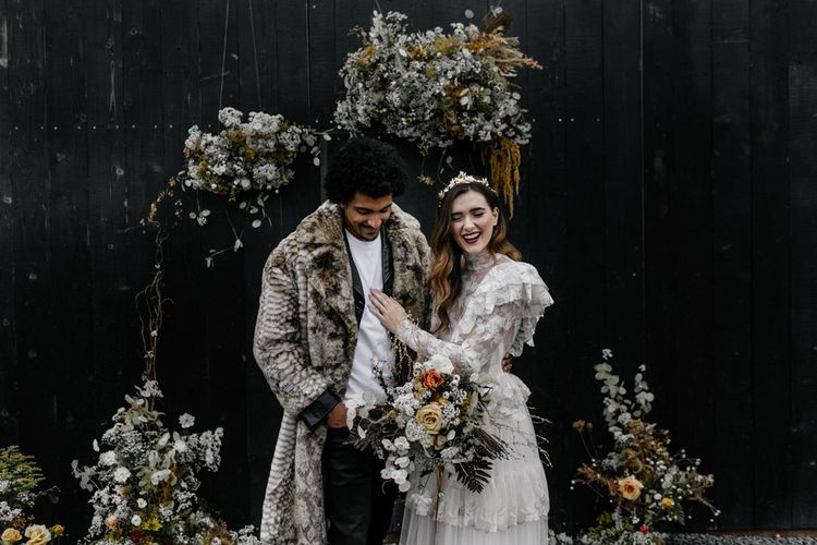 Modern Bride and Groom in Alternative Wedding Outfits