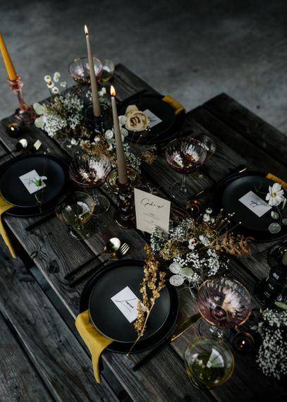 Contemporary Table Decor with Dried Flowers, Candles and Modern Stationery