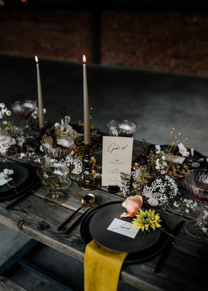 Modern Grubs Up Menu Card on Wedding Table