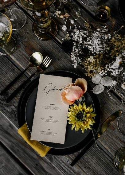 Contemporary Menu Card with Scrip Font